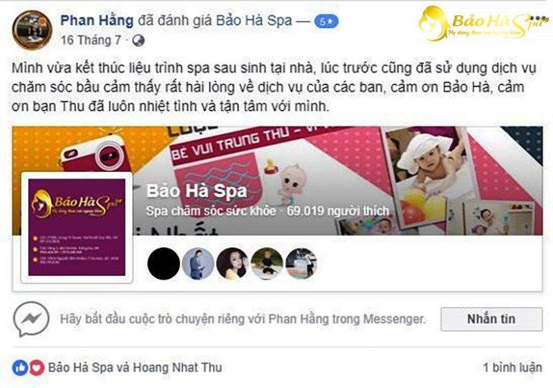 Chị em nói gì về dịch vụ Spa sau sinh tại Hà Nội của Bảo Hà Spa?
